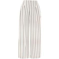 Topshop Stripe Crop Wide Trousers ($53) ❤ liked on Polyvore featuring pants, capris, topshop, monochrome, white crop pants, cropped capri pants, white wide leg pants, high-waisted wide leg pants and high waisted white pants