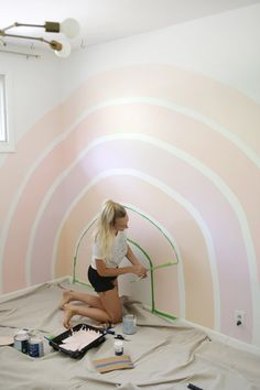 Home Interior Black Rainbow Corner Accent Wall DIY - A Beautiful Mess.Home Interior Black Rainbow Corner Accent Wall DIY - A Beautiful Mess My New Room, My Room, Ecole Design, Beautiful Mess, Little Girl Rooms, Girl Nursery, House Ideas, Decoration, Tall Ceilings