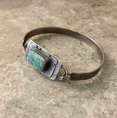 Leaf Pendant, Oxidized Sterling Silver, Metal Jewelry, Turquoise Bracelet, Vintage Items, Teal, Handmade Items, Stone, Business