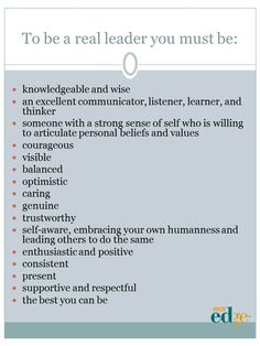 """How to """"Be"""" a Real Leader   by Carol Hunter"""