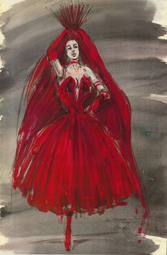 """Irene Sharaff costume sketch for the 1951 MGM film """"An American in Paris""""."""