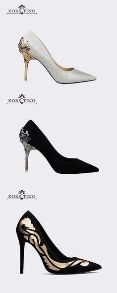 a83c6de823153b Metal Hollow Suede Scrub Women Pumps. Pointed Toe Heels ...