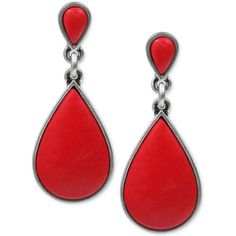 Lucky Brand Earrings, Silver-Tone Red Stone Drop Earrings ($29) ❤ liked on Polyvore featuring jewelry, earrings, brincos, accessories, red jewelry, red earrings, drop earrings, stone earrings and silver tone jewelry