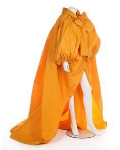 Yves Saint Laurent couture voluminous saffron-yellow silk faille evening coat, Autumn-Winter, 1983-84 -