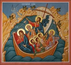 christ calming the storm icon Images Of Christ, Religious Images, Religious Icons, Religious Art, Byzantine Icons, Byzantine Art, Jesus Calms The Storm, Jesus Cartoon, Calming The Storm