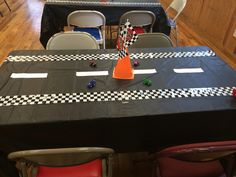 Table with center piece race car party