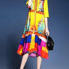 Colorful Round Neck Side Slit Printed Maxi Dress Fashion girls, party dresses long dress for short Women, casual summer outfit ideas, party dresses Fashion Trends, Latest Fashion # Side Slit Dress, Maxi Dress With Sleeves, Chiffon Dress, Vestido Maxi Floral, Dress Silhouette, Buy Dress, Beautiful Gowns, Cheap Dresses, Dresses Online