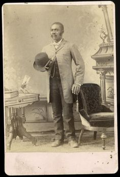 BLACK MAN WITH DERBY HAT DISPLAYS CABINET CARD OF LADY ANTIQUE PHOTO in Collectibles, Cultures & Ethnicities, Black Americana, Photos | eBay
