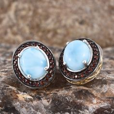 f52486acd Larimar and Mozambique Garnet 14K Yellow Gold and Platinum Over Sterling  Silver Earrings Larimar Jewelry,