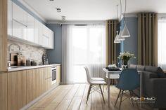 """Дизайн интерьера кухни в современном стиле в однокомнатной квартире. Цвета: белый, бежевый, голубой. Студия дизайна """"Печёный""""."""