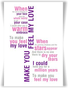 Adele Bob Dylan Make You Feel My Love  Song Lyrics A4  Print