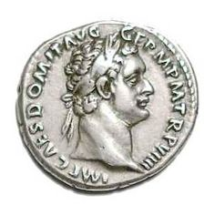 Domitian as emperor depicted on an ancient Roman coin.