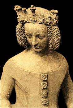 Isabeau de Bavière, reine de France, vers 1400, statue de Guy de Dammartin, au Palais de Justice de Poitiers