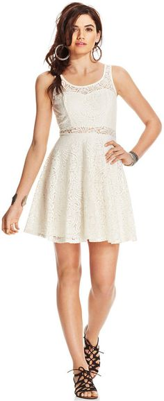 $46, White Lace Skater Dress: American Rag Lace Illusion Skater Dress. Sold by Macy's. Click for more info: https://lookastic.com/women/shop_items/232816/redirect