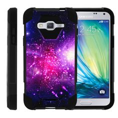 Samsung Galaxy J3 Case, Amp Prime Hard Case, Express Prime Case [SHOCK FUSION] High Resistant Fitted Hybrid Dual Layer Case with Hard Kickstand by Miniturtle® - Heavenly Stars