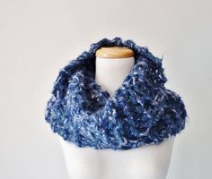Chunky Knit Blue Cowl  TIDAL  Women's Autumn by awkward on Etsy