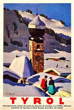 Alfons Walde: Painter of the Austrian Alps Ski Vintage, Vintage Ski Posters, Retro Poster, Ski Austria, Tyrol Austria, Patagonia Travel, Tourism Poster, Voyage Europe, Art Graphique