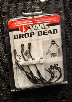 """new Drop Dead hook that was designed by Davy Hite for specific use with the Drop Dead Minnow he designed for Trigger X.  The hook features a wide round bend shape with a weight angled back towards the curve of the hook. When you jerk the minnow and kill it, it shimmies and swims away from you as it falls. Dan Quinn of Rapala said the bass can't stand it. He found the swimming away action """"crazy."""""""