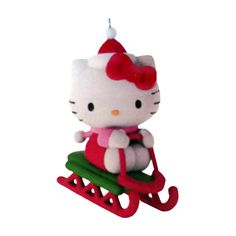 now you can have a fun hello kitty sleigh christmas ornament for in your christmas tree this is a hallmark ornament that is a true keepsake ornament