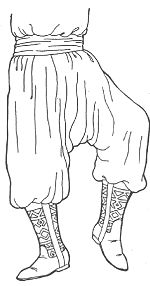 Chalwar are the draped pantaloons worn by men in North Africa and the Middle East. The chalwar fit tight around the ankle and lower part of the leg with a wide pleated and draped upper portion with gathers around the waist. For dress occasion the chakwar are made in fine black wool or silk trimmed with black braid over all seams. The chalwar are worn wit a white cotton or cream silk kurta (shirt) with the hizaam or kusak (a wide silk sash, many yards long, wrapped around the waist)