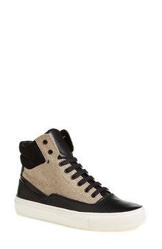 Vince+'Newman'+Leather+&+Burlap+High+Top+Sneaker+(Women)+available+at+#Nordstrom