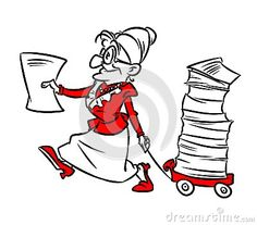 Old woman  complaint cartoon illustration doodle contour illustration style black red
