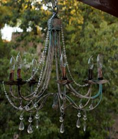 Industrial Shabby Chic  Chandelier by Mosaicus on Etsy, $150.00