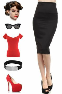 Black Highwaist 50s Pinup Style Essential Pencil Skirt Sizes SM MD LG 1x 2X 3X | eBay