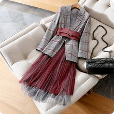 Women plaid blazer wide belt + long mesh skirt pleated skirts 2 piece set new 2019 spring office lady sexy new Women's Sets from Women's Clothing on Pleated Skirt Outfit, Mesh Skirt, Skirt Outfits, Pleated Skirts, Fall Fashion Outfits, Hijab Fashion, Boho Fashion, Autumn Fashion, Fashion Tips