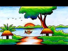 Easy Scenery Drawing for Kids-Scenery for Kids-Step by Step Beautiful Scenery Drawing, Easy Scenery Drawing, Drawing Sunset, Easy Flower Drawings, Easy Animal Drawings, Oil Pastel Drawings, Colorful Drawings, Easy Drawings, Nature Drawing For Kids