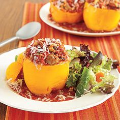 Slow-Cooker Recipes | Turkey Stuffed Peppers | AllYou.com.  Cost per serving: $2.70    Make this dish with an assortment of different-colored bell peppers for a pretty presentation. You can save money that way, too—green peppers tend to be the cheapest, followed by yellow and orange. Red are usually the priciest.