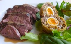 Venison Steak with Whisky Cream Sauce & Haggis Scotch Eggs - makes my venison recipes look pedestrian.