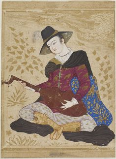 Young man in European dress playing on a lute, 1630s. Opaque watercolor and gold on paper. H: 14.0 W: 11.4 cm. Iran. Purchase F1929.77 ©2012 Smithsonian Institution