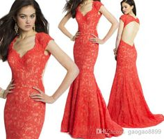Wholesale Evening Dresses - Buy Camille La Vie New Backless Lace Orange Red Mermaid Formal Evening Dresses Sweep Train Open Back Celebrity Prom Party Gowns Arabic 2014, $128.17 | DHgate