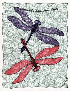 Zentangle Inspiration Dancing Dragonflies by Karen Anne Brady via Etsy