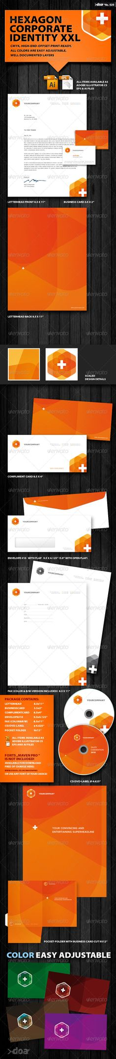 Hexagon Corporate Identity XXL - #Stationery #Print #Templates Download here: https://graphicriver.net/item/hexagon-corporate-identity-xxl/411159?ref=alena994