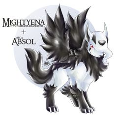 Pokemon Fusion: Mightyena X Mega Absol by Pokemon Mix, Pokemon Fusion Art, Mega Pokemon, Pokemon Memes, Pokemon Fan Art, Cool Pokemon, Pokemon Cards, Pokemon Team, Magical Creatures