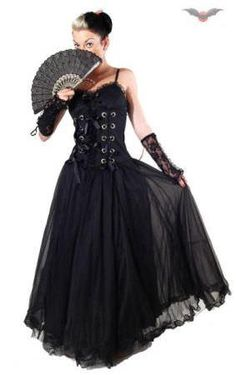 Queen Of Darkness - Long Black Gown with Ribbon Laced Bodice #goth #gothic #corset