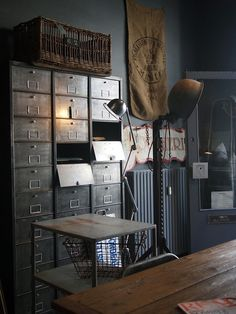 Every home needs an industrial touch now and then. So, why not make the best of the world of interior design and add those industrial lighting designs you've be Vintage Industrial Furniture, Industrial Interiors, Industrial House, Rustic Industrial, Industrial Office, Industrial Storage, Reclaimed Furniture, Industrial Lamps, Refinished Furniture