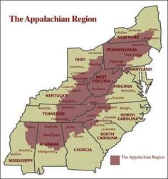 Note that West Virginia is the ONLY state in the entire region that is included completely. Appalachian People, Appalachian Mountains, Appalachian Trail, Appalachian Recipes, Us History, Family History, American History, History Medieval, History Quotes