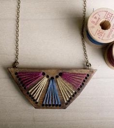 Embroidered Wood Pendant Necklace, Magenta & Blue
