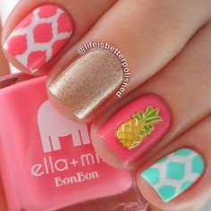 ↠aliesemeyer↞ ❂ Ƒollow ൬e Ƒor ൬౦re ❂ Pink pineapple mani