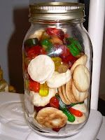 """A jar with  """"manna"""" and gummy worms to represent leaving the manna overnight!"""