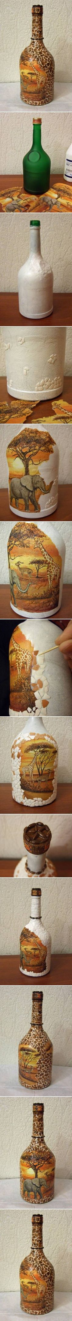 DIY African Motif Bottle diy crafts craft ideas easy crafts diy ideas diy idea diy home diy vase easy diy how to tutorial for the home crafty decor home ideas diy decorations Wine Bottle Art, Painted Wine Bottles, Diy Bottle, Wine Bottle Crafts, Bottles And Jars, Glass Jars, Cork Crafts, Diy Crafts, Eggshell Mosaic