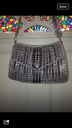 From Pop Top Crochet More Pop Top Crochet, Pop Top Crafts, Pop Tab Purse, Soda Can Tabs, Recycle Cans, Pop Cans, Headbands, Purses And Bags, Projects To Try