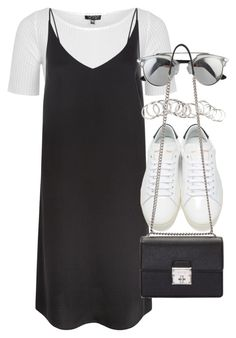 """Outfit with a slip dress"" by ferned on Polyvore featuring Topshop, New Look, Yves Saint Laurent, Dolce&Gabbana and H&M"