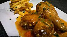 MUSLITOS DE POLLO GUISADOS A LA CERVEZA - Oido Cocina!! I Foods, Chicken Wings, Lunch, Meat, Salsa, Recipes, Moist Chicken, Baked Chicken Legs, Chicken Recipes Oven