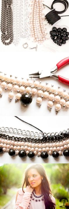 DIY Crimenes de la Moda - collar con cadenas - chain necklace                                                                                                                            Más