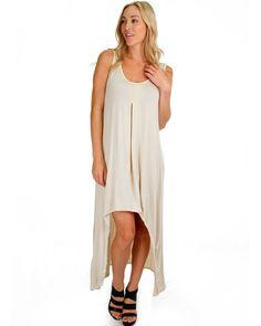 Hi-Low Stone Color Maxi Dress