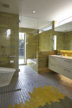 yellow + green tile